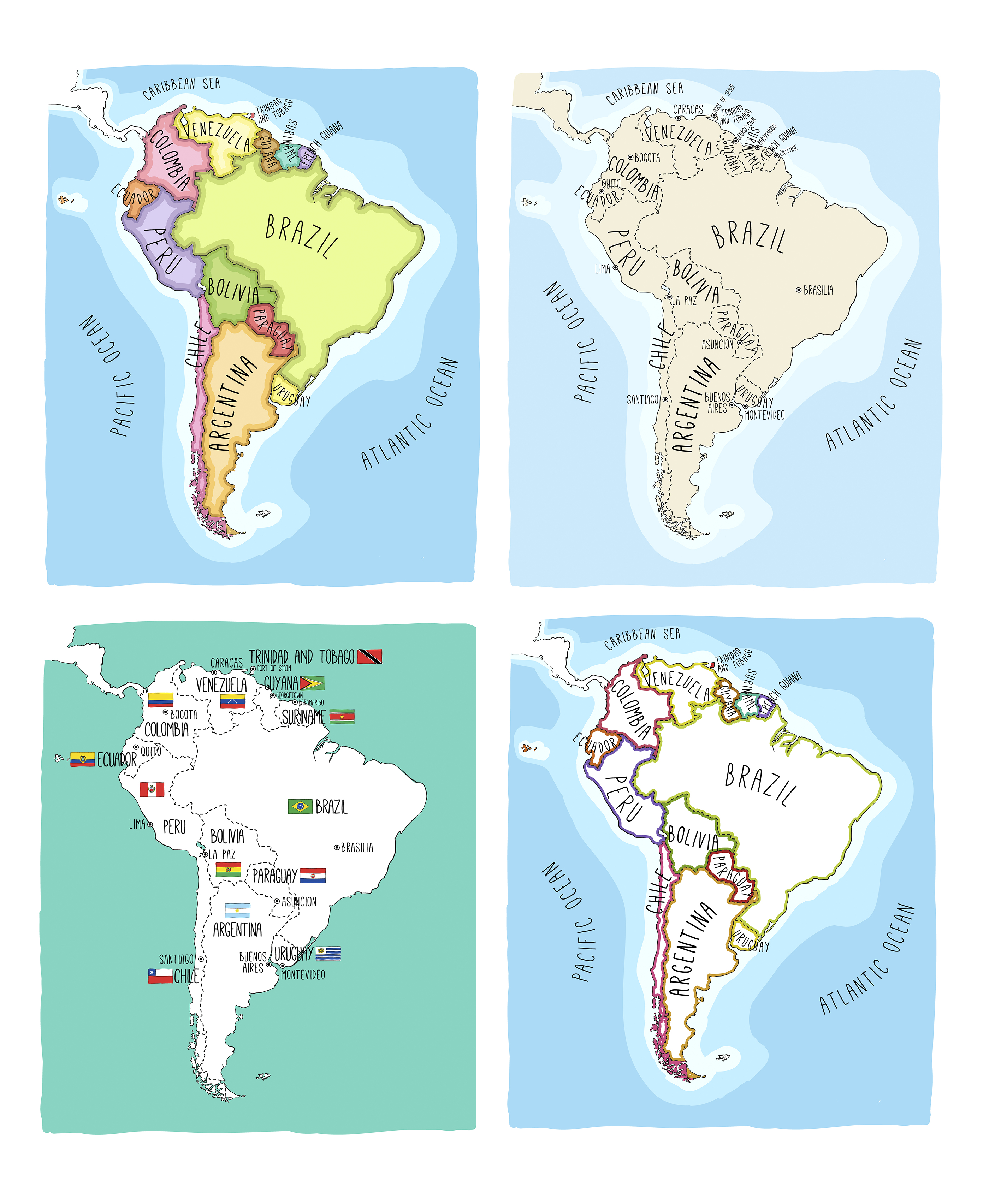 Ideas South America Map And Flags On Wwwgreenmodelinfo - Map of usa and south america